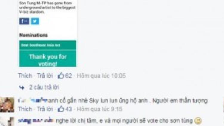 Lời kêu gọi của Mỹ Tâm được nhiều người hâm mộ ủng hộ. Fan Sơn Tùng M-TP cũng liên tục vào cám ơn cô.