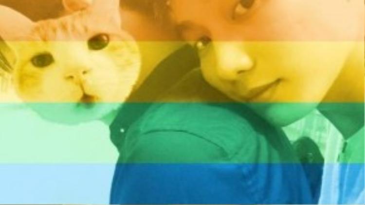 Bin Gà thường chia sẻ hình ảnh hạnh phúc bên bạn trai giấu mặt trên Facebook.