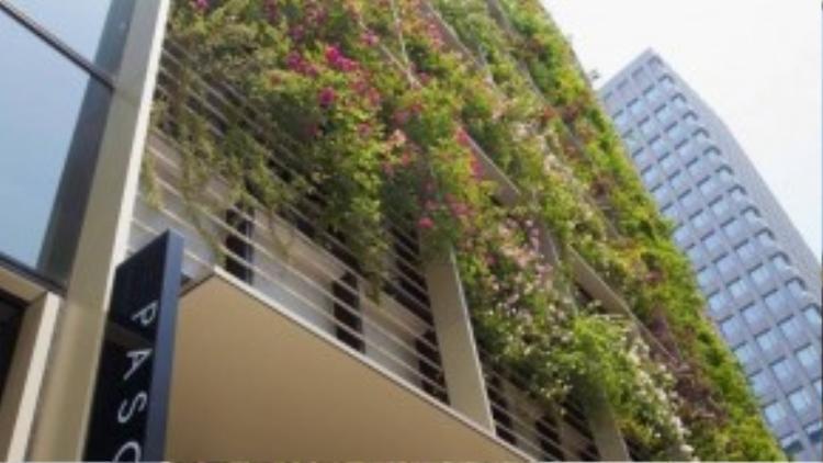 Mặt tiền bên ngoài tòa nhà được phủ kín bởi nhiềuloài hoa khác nhau. Mỗi mùa cây thay màulá thì tòa nhà lại trông giống như được khoác lên mình một chiếc áo mới.