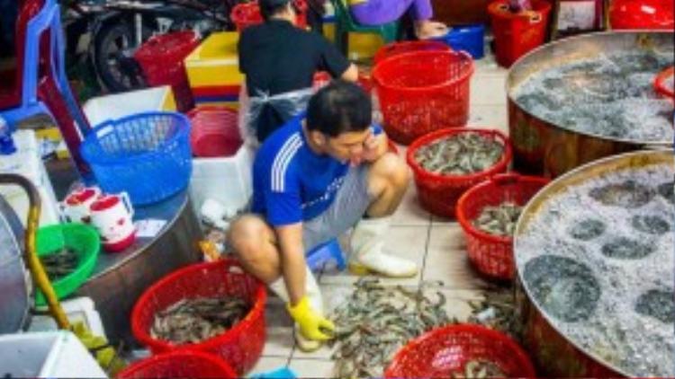 Anh công nhân đang ngồi phân loại tôm thành từng loại lớn nhỏ để phù hợp với nhu cầu sản phẩm mà khách yêu cầu.