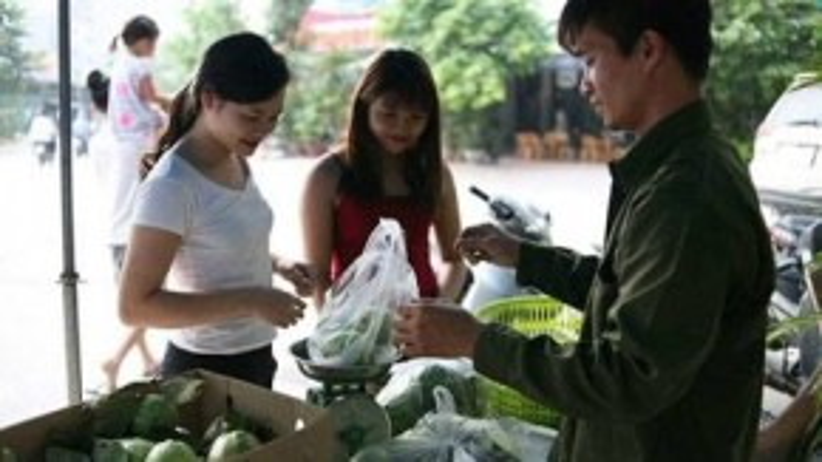 Hình ảnh Lệ Rơi bán ổi ở phía sau trường Đại học Thương Mại.