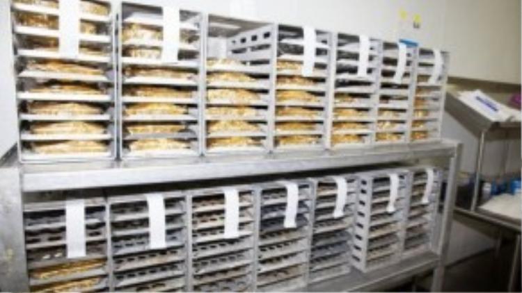 Các phần ăn sẽ được xếp vào các khay trong tủ đồ ăn như bạn thấy trên máy bay.