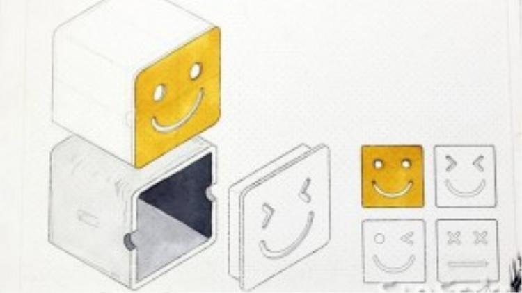 """Theo bản vẽ thiết kế của anh Linh thì trong tương lai, Sunbox sẽ có thêm những biểu cảm mới bên cạnh những chiếc """"hộp cười"""" quen thuộc hiện nay."""