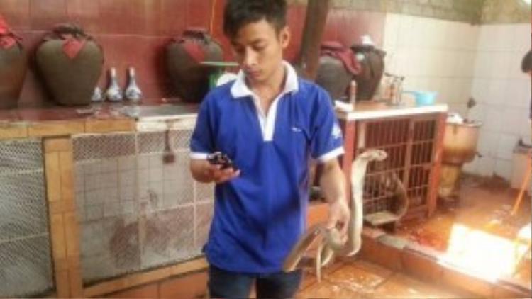 Anh đã tới Việt Nam và thưởng thức món đặc sản thịt rắn. Nhân viên phục vụ đã kiên nhẫn giữ con rắn cho anh chụp ảnh.