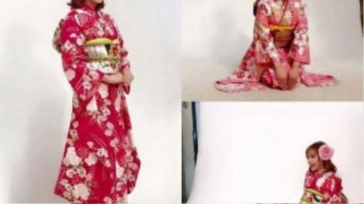 Minh Hằng rạng rỡ trong áo kimono của Nhật.