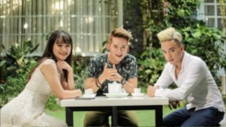 Cao Thái Sơn và hai diễn viên trong MV.