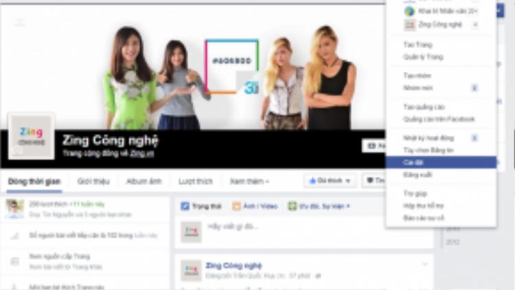 Bước 1: Từ giao diện chính của trang Facebook, vào Cài đặt.