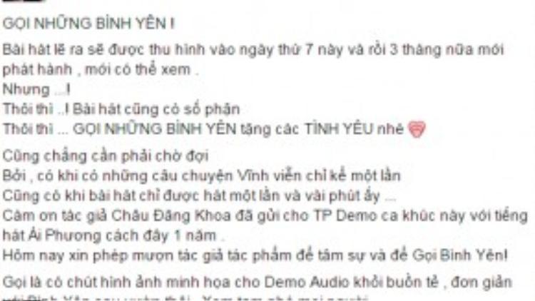 Status chia sẻ demo audio của nữ ca sĩ hải ngoại.