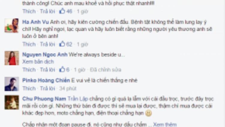 Bạn bè đồng nghiệp động viên Trần Lập.