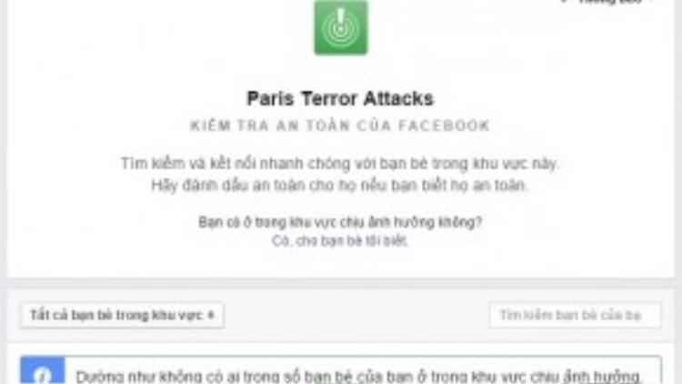 Người dùng cũng có thể kiểm tra danh sách bạn bè của mình để xem có ai nằm trong khu vực bị tấn công hay không.