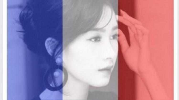 Hoa hậu Đặng Thu Thảo thay avatar với gam màu xanh dương, trắng, đỏ biểu tượng cho cờ nước Pháp.