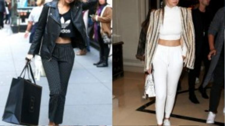 Cô cũng kết hợp độc đáo với quần âu và moto jacket hay blazer ánh kim để phù hợp hơn trong các sự kiện cần ăn mặc kín đáo, gợi cảm nhưng biết tiết chế.