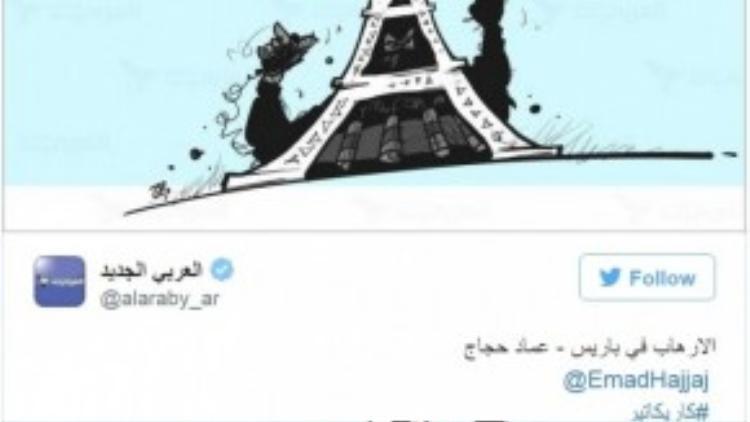 """Một người Hồi giáo ở Anh vẽ Paris như một thành phố của ánh sáng, trái ngược hoàn toàn với """"bóng ma"""" khủng bố đen tối đang rình rập phía sau."""
