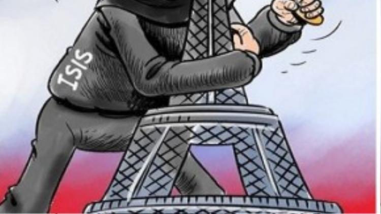 """Trong khi đó, al-Alam - một tờ báo của chính phủ Iran đã đăng một bức biếm họa kèm chú thích """"Wahhabi terror strikes Paris"""" (""""Khủng bố dòng Wahhabi tấn công Paris"""")."""