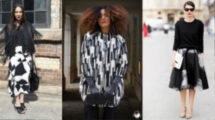 Họa tiết trắng đen không chỉ dừng lại ở những đường kẻ caro, chấm bi, hoa lá cành đơn thuần… mà đó còn là cả một nghệ thuật thể hiện sức sáng tạo vô hạn của các nhà thiết kế và khả năng mix đồ tài tình của các fashionista.