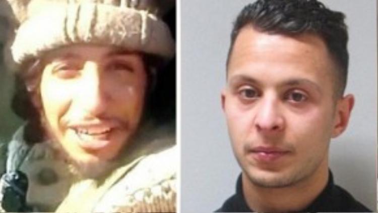 Từ trái sang là ảnh hai nghi phạm vụ tấn công khủng bố Paris đang bị truy lùng và đang bị vây ráp ở St. Denis: Abdelhamid Abaaoud (người Bỉ gốc Ma-rốc) và Abdeslam Salah (người Pháp) - kẻ khủng bố thứ 8 trong vụ tấn công Paris.