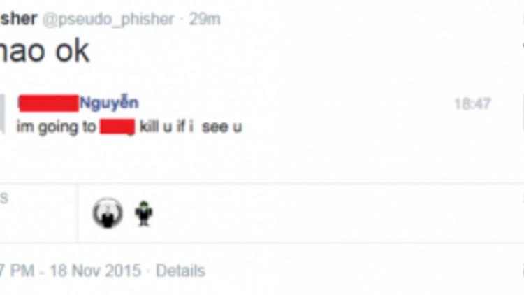 Tin nhắn được cho là của một thành viên khác gửi đến cho người dùng này.