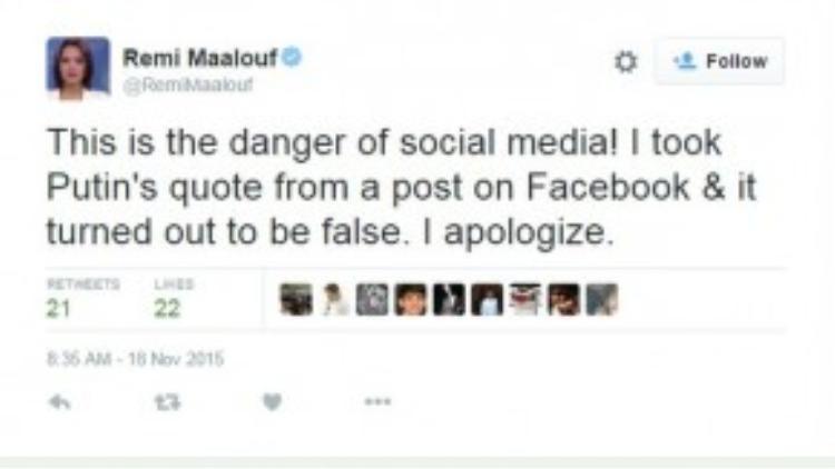 """Remi Maalouf viết: """"Mạng xã hội thật nguy hiểm. Tôi đã lất phát biểu của ngài Putin từ một bài viết trên Facebook và nó dường như là một sự nhầm lẫn. Tôi xin lỗi""""."""