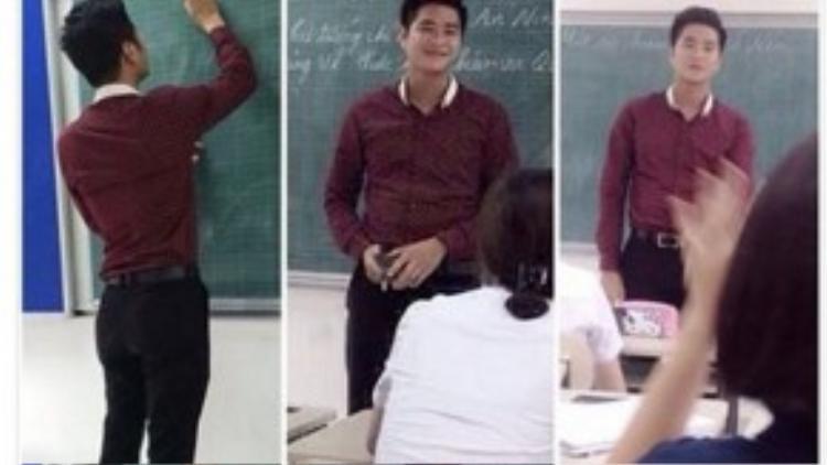 Những bức ảnh được chụp khi đang giảng bài của thầy lan truyền rất nhanh trên cộng đồng mạng.