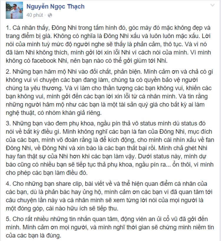 Nhà văn Nguyễn Ngọc Thạch xin lỗi vì gọi Đông Nhi là bà ngoại