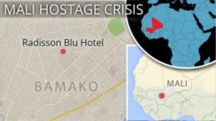 Vụ tấn công xảy ra vào sáng nay (20/11) tại một khách sạn cao cấp tại Mali - từng là thuộc địa của Pháp. 2 nhân viên an ninh khách sạn đã bị giết.
