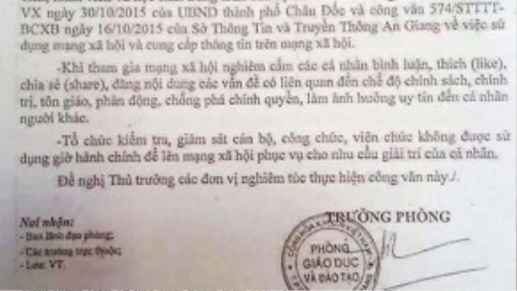Công văn của Phòng Giáo dục và Đào tạo TP Châu Đốc, An Giang. Ảnh: CTV.