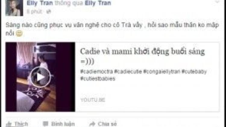 Elly Trần hài hước chia sẻ do ngày nào cũng phải khởi động thế này nên bà mẹ hai con không thể mập nổi.
