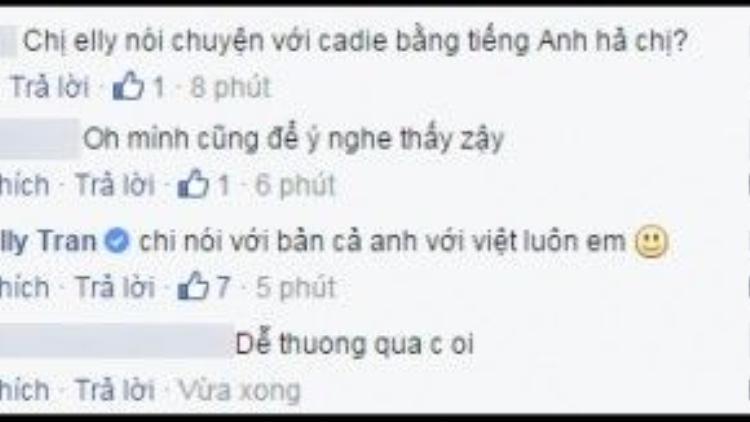 Elly Trần còn bật mí cô dùng cả hai thứ tiếng Anh và Việt khi nói chuyện cùng con gái.