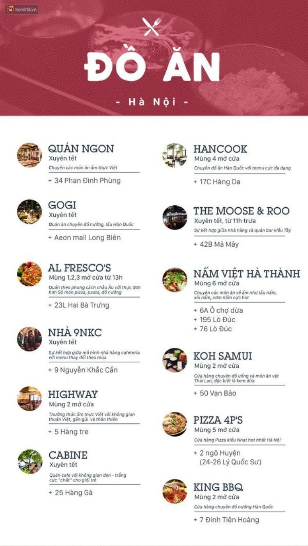 Lịch đóng  mở hàng ngày Tết của loạt quán xá hot ở hai đầu cầu Hà Nội  Sài Gòn