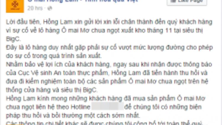 Lời xin lỗi của đơn vị kinh doanh Ô mai Hồng Lam tới các thực khách.
