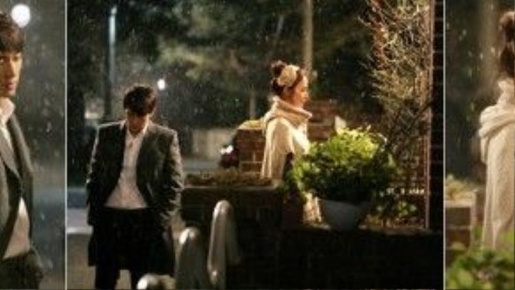 """Cảnh phim đầy tuyết rơi của Park Hae Young (Song Seung Hun) và Lee Seol (Kim Tae Hee) trong """"My Princess"""" (Công chúa của tôi) khiến người hâm mộ không thể nào quên."""