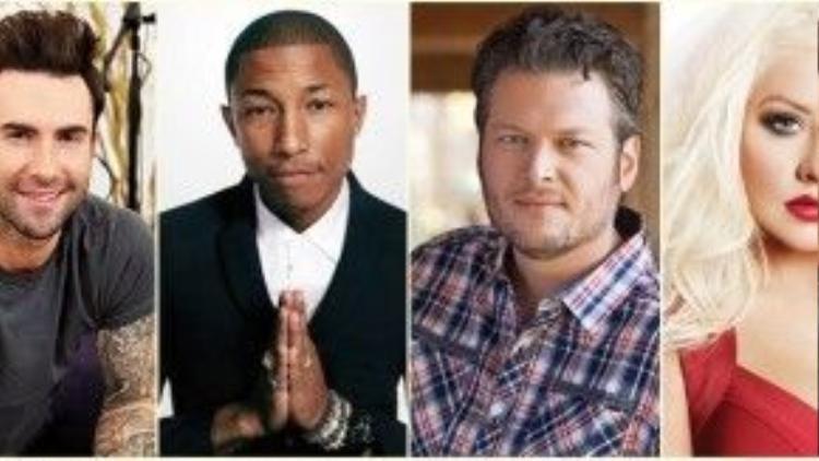 Dàn HLV dự kiến: Adam Levine, Pharrel Williams, Blake Shelton, Christina Aguilera (từ trái sang)