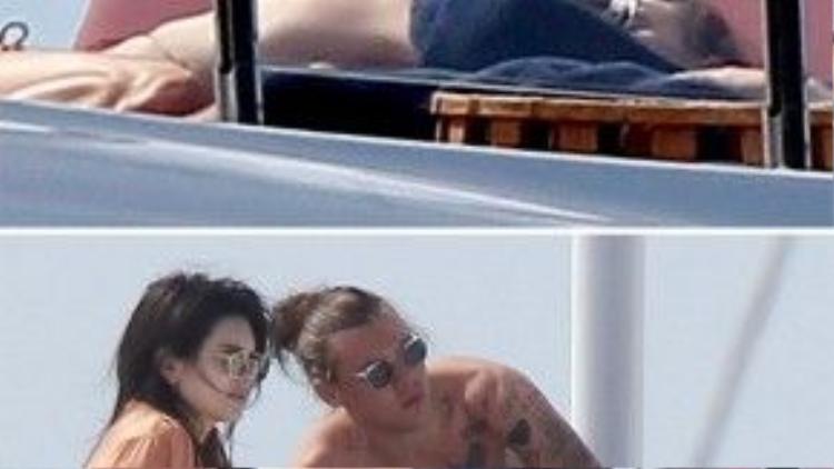 Kendall Jenner và Harry Styles âu yếm trên du thuyền hồi đầu năm.