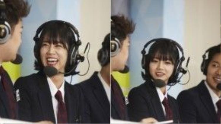 Biểu cảm tươi tắn của thành viên Girl's Day trong game show.