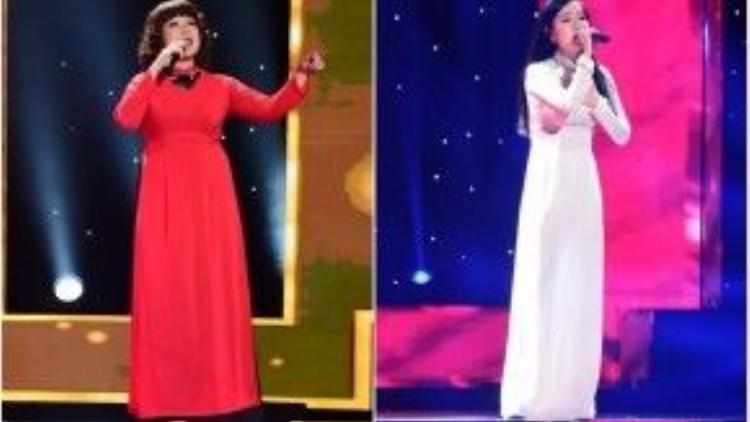 HLV Quang Dũng bị nghi ngờ về sự chung thủy khi dành nút đỏ cho thí sinh Mai Phương (phải) sau khi đã chọn thí sinh Minh Thảo trước đó.