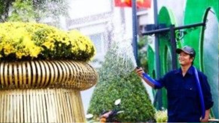 Nhiệt độ Sài Gòn trong những ngày này khá cao, khoảng 34, 35 độ C. Công nhân phải thường xuyên tưới nước để đảm bảo hoa luôn tươi.