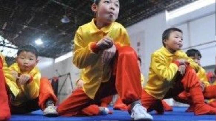 Trẻ con Trung Quốc đang học võ khỉ.