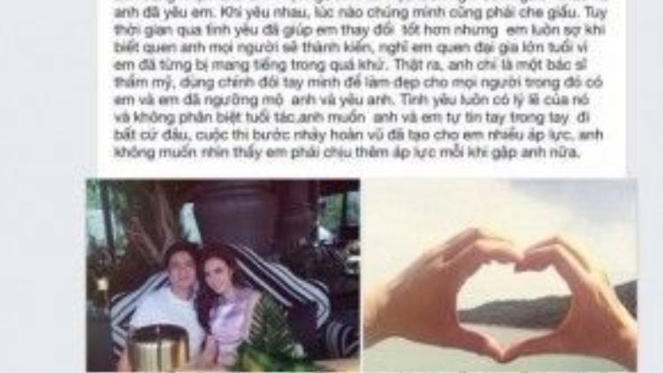 Đoạn trạng thái về chuyện tình cảm với Angela Phương Trinh của bác sĩ Chiêm Quốc Thái.