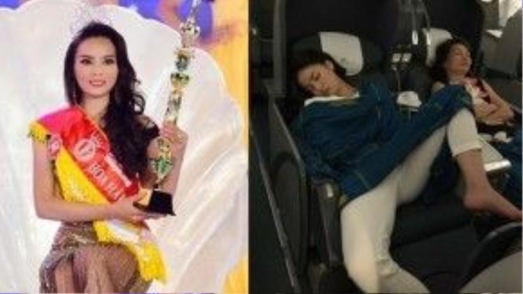 """Hoa hậu Kỳ Duyên gây """"bão"""" dư luận với dáng ngủ kém duyên."""