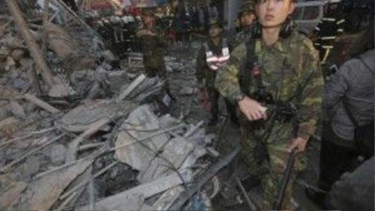 Lực lượng quân đội cũng tham gia công tác cứu hộ cứu nạn.