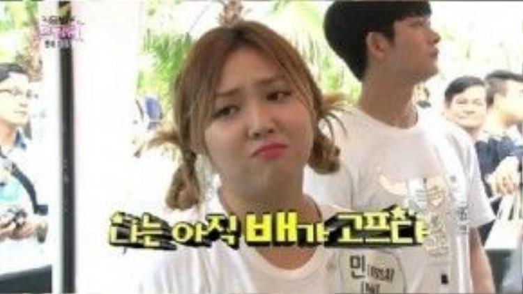 Xuất hiện trong Dream Team, thành viên Min của nhóm miss A gây chú ý vì thân hình béo tròn. Mặc dù tăng cân, nữ ca sĩ vẫn không ngại ngần thưởng thức đồ ăn vặt ngon lành trước ống kính.
