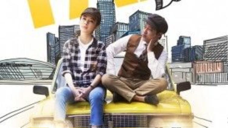 Poster của phim Taxi, em tên gì? đánh dấu sự trở lại của Angela Phương Trinh.
