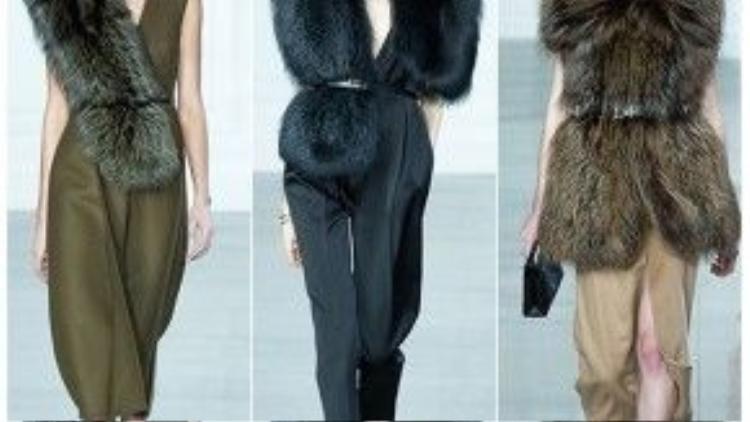 Xu hướng đồ lông thú đang trở lại trong năm 2016 với những biến tấu khác nhau từ dải lông khoác chéo vai cho đến áo khoác lông dài.