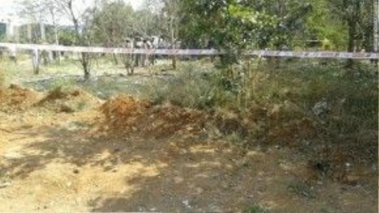 Hiện trường vụ rơi thiên thạch tại Cao đẳng kỹ thuật Bharathidasan.