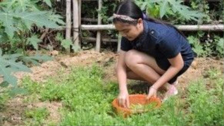 Là con út nên cô bé rất được ba mẹ cưng chiều, chỉ phải làm những việc vặt như hái các loại rau quả được trồng ngay trong vườn nhà.