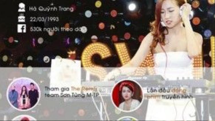 Trang Moon nổi lên sau cuộc thi The Remix khi tham gia chung đội với nam ca sĩ Sơn Tùng M-TP. Nữ DJ liên tục đắt show diễn tại các tỉnh thành khiến cô phải tạm nghỉ ngơi một tháng vì kiệt sức. Trang Moon nhanh chóng lấn sân sang các lĩnh vực nghệ thuật khác như ca hát, đóng phim. Cuối năm 2015, cô đón nhận tin vui khi lọt top 10 nhân vật được tìm kiếm nhiều nhất trên Google.