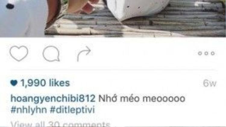 """Một fan tinh mắt đã """"vô tình"""" đoán ra chữ cái viết tắt của hashtag #nhlyhn. Phải chăng Hoàng Yến Chibi thực sự đang hẹn hò cùng Lý Hoàng Nam?"""