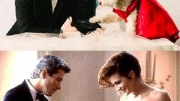 """Còn gì lãng mạn hơn cảnh quý ông Edward hé mở chiếc hộp quà, nơi cất giữ chuỗi vòng ngọc đắt tiền, món quà tặng nàng """"Lọ Lem"""" Vivian?"""