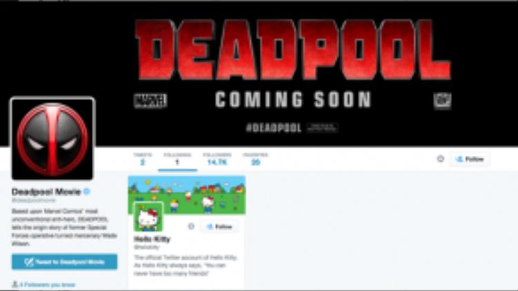 Tài khoản twitter chính thức của phim Deadpool chỉ theo dõi duy nhất… Hello Kitty. Các khán giả đã xem phim sẽ hiểu ý nghĩa của trò đùa này.