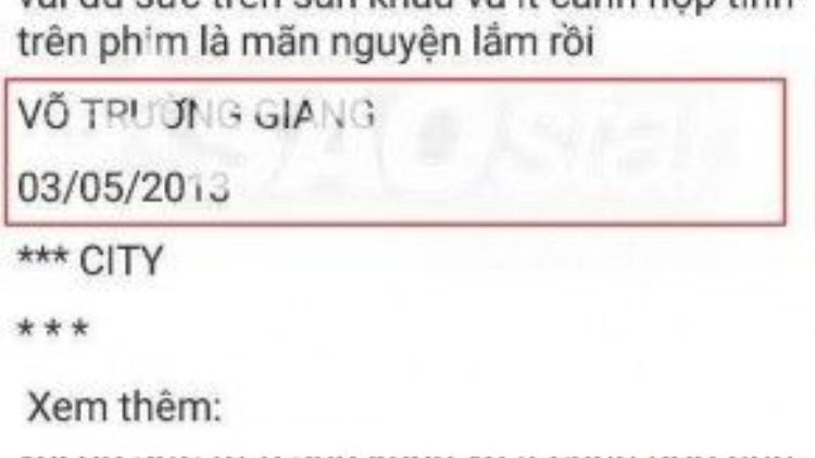"""Dưới dòng """"nhật ký online"""" trên tài khoản Ola 3 năm trước, được ký tên: Võ Trường Giang"""